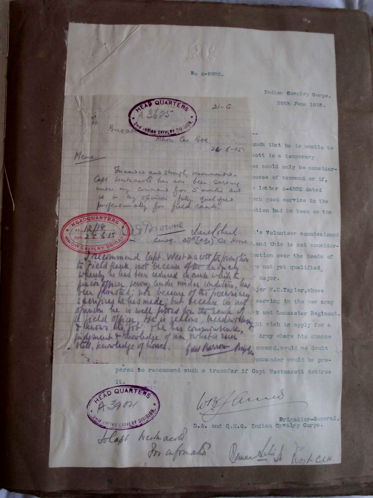 Letter from Brigadier James with notes attached urging him to promote Tom back to Major